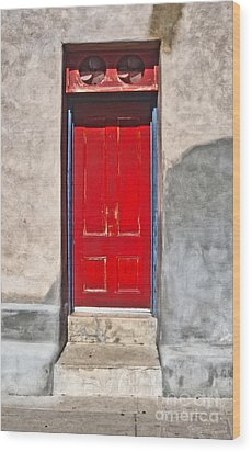 Tucson Arizona Red Door Wood Print by Gregory Dyer