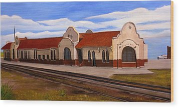 Wood Print featuring the painting Tucumcari Train Depot by Sheri Keith