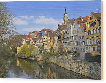 Tuebingen Neckarfront With Beautiful Old Houses Wood Print by Matthias Hauser