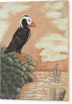 Wood Print featuring the painting Tufted Puffin At Dusk by VLee Watson