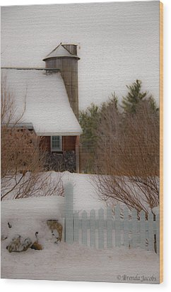 Wood Print featuring the photograph Tuftonboro Farm In Snow by Brenda Jacobs