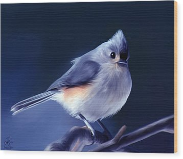 Tufty The Titmouse Wood Print by Pennie  McCracken