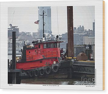 Wood Print featuring the digital art Tug Boat B by Kenneth De Tore