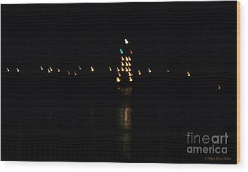 Wood Print featuring the photograph Tug Boat Light Painting by Megan Dirsa-DuBois