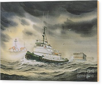 Tugboat Agnes Foss Wood Print by James Williamson