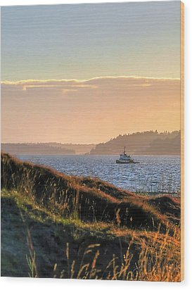 Tugboat Twilight - Chambers Bay Golf Course Wood Print