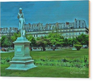 Tuileries Gardens Wood Print by Allen Beatty