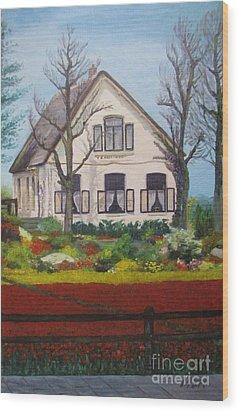 Tulip Cottage Wood Print