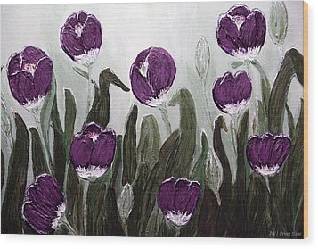 Tulip Festival Art Print Purple Tulips From Original Abstract By Penny Hunt Wood Print by Penny Hunt