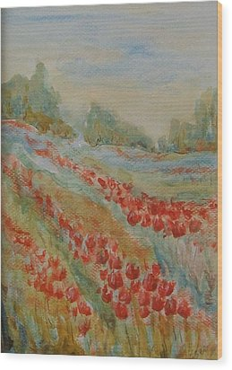 Wood Print featuring the painting Tulip Field by Jane  See