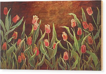 Wood Print featuring the painting Tulip Garden by Vic  Mastis