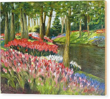 Wood Print featuring the painting Tulip Gardens by Lori Ippolito