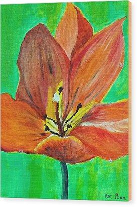 Tulip Wood Print by Kat Poon