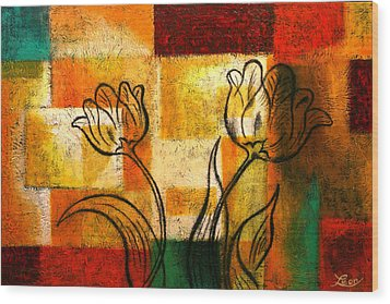 Tulip Wood Print by Leon Zernitsky