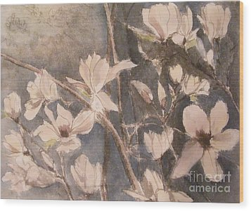 Wood Print featuring the painting Tulip Magnolias by Nancy Kane Chapman