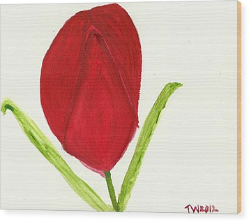 Wood Print featuring the painting Tulip Of The Heart by Tracey Williams
