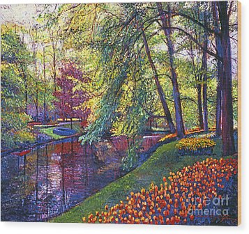 Tulip Park Wood Print by David Lloyd Glover