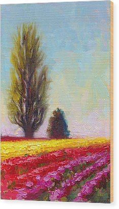 Tulip Sentinels Wood Print by Talya Johnson