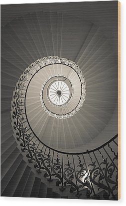 Tulip Stairs From Below Wood Print by Ross Henton
