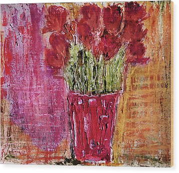Wood Print featuring the painting Tulipes Rouges by Linde Townsend