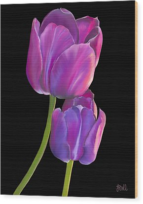 Wood Print featuring the painting Tulips 2 by Laura Bell
