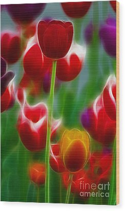 Tulips-7069-fractal Wood Print by Gary Gingrich Galleries