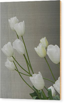 Tulips Against Pillar Wood Print by Jean Goodwin Brooks