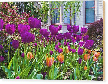 Tulips And Bush House Wood Print