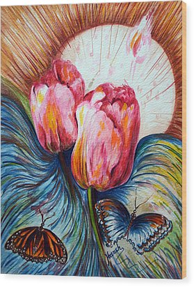 Tulips And Butterflies Wood Print by Harsh Malik