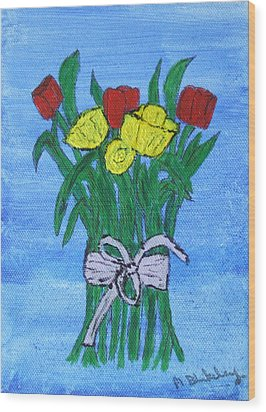 Wood Print featuring the painting Tulips And Daffodils by Martin Blakeley