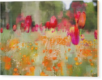 Wood Print featuring the photograph Tulips And Daisies by Linde Townsend