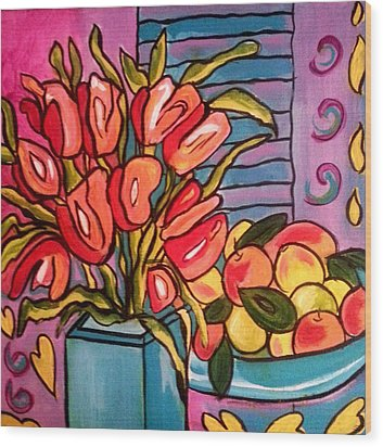 Tulips And Fruit Wood Print