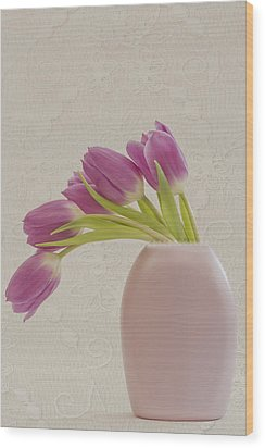 Tulips And Lace Wood Print