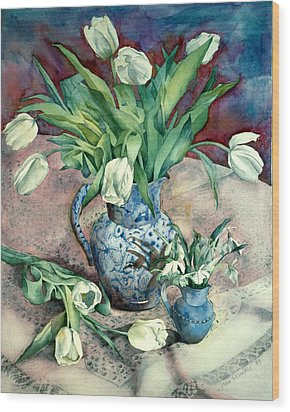 Tulips And Snowdrops Wood Print by Julia Rowntree