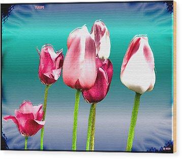 Wood Print featuring the digital art Tulips by Daniel Janda