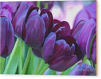Tulips-dark-purple Wood Print