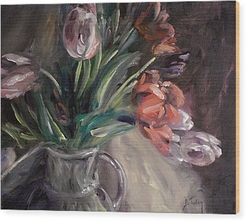 Wood Print featuring the painting Tulips by Donna Tuten
