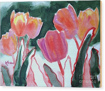 Tulips For The Love Of Patches Wood Print by Kathy Braud