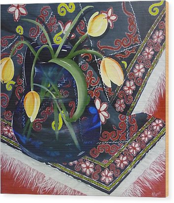 Wood Print featuring the painting Tulips by Helen Syron