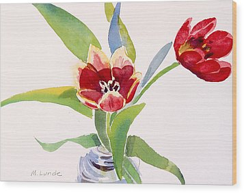 Tulips In A Can Wood Print by Mark Lunde