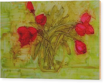 Tulips In A Glass Vase Wood Print by Patricia Awapara