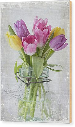 Tulips In A Jar Wood Print