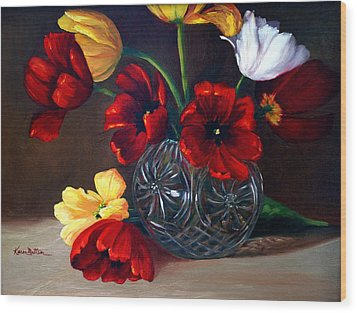 Tulips In Crystal Wood Print