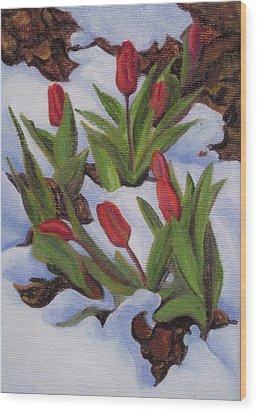 Tulips In Snow Wood Print