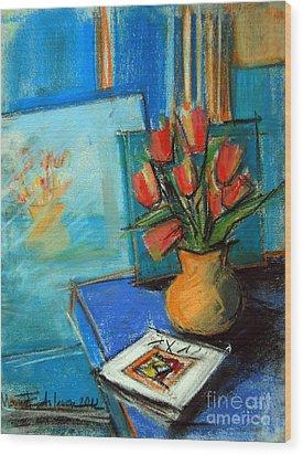 Tulips In The Mirror Wood Print by Mona Edulesco
