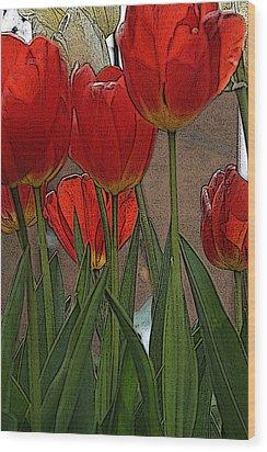 Wood Print featuring the digital art Tulips by John Freidenberg