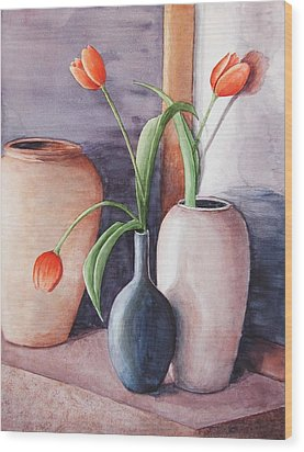 Tulips Wood Print by Laura Sapko