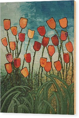Wood Print featuring the painting Tulips by Linda Bailey