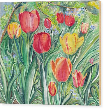 Tulips Wood Print by Nadine Dennis