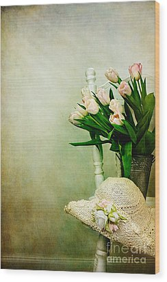 Tulips On A Chair Wood Print by Stephanie Frey